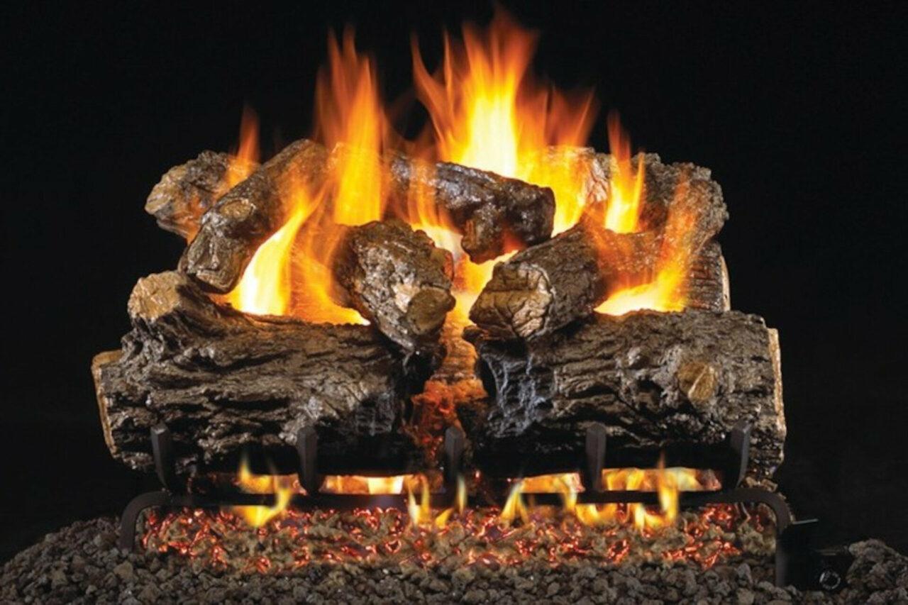 Burnt Rustic Oak - Real Fyre Vented Gas Log Set