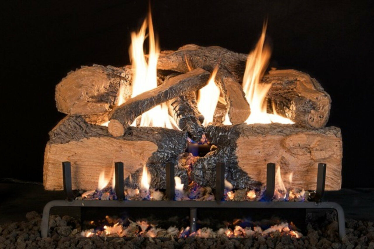 Charred Angel Split Oak - Real Fyre Vented Gas Log Set