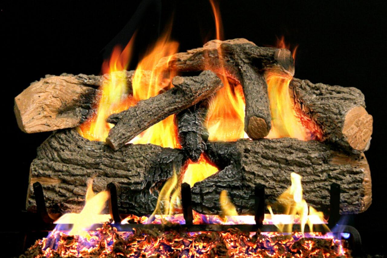 Charred Evergreen Oak - Real Fyre Vented Gas Log Set