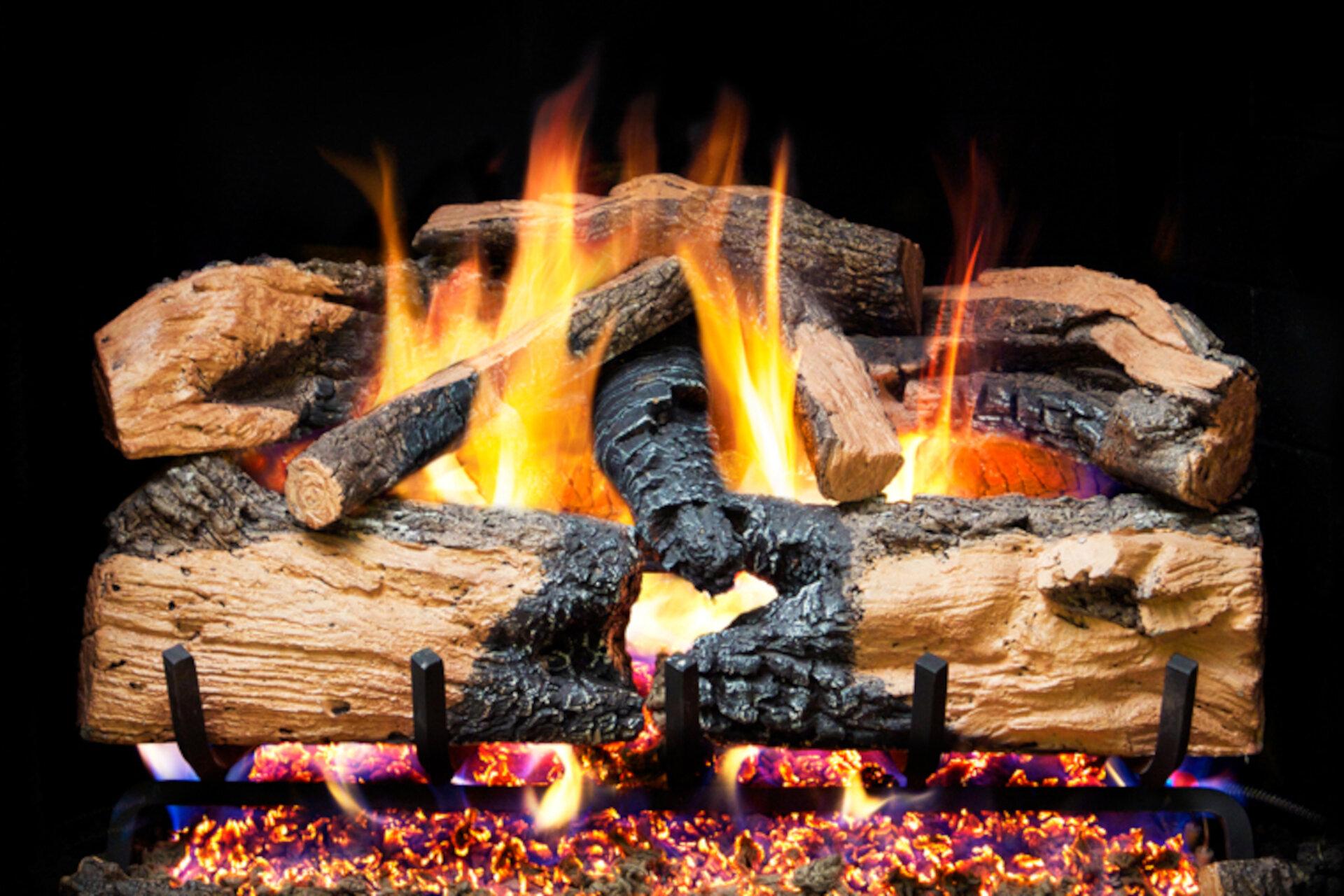 Charred Evergreen Split Oak - Real Fyre Vented Gas Log Set