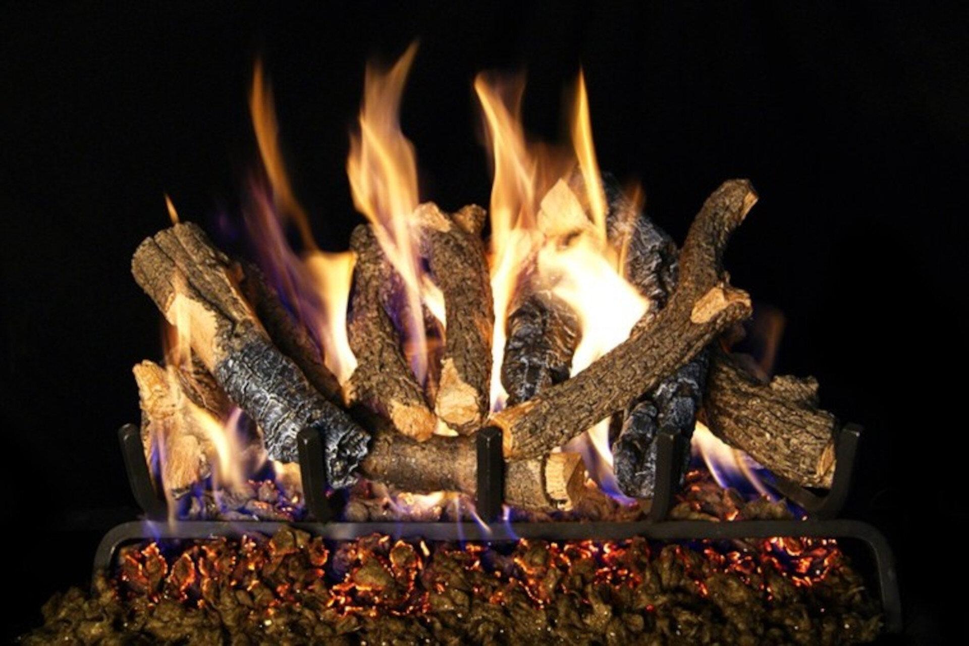 Charred Oak Stack - Real Fyre Vented Gas Log Set