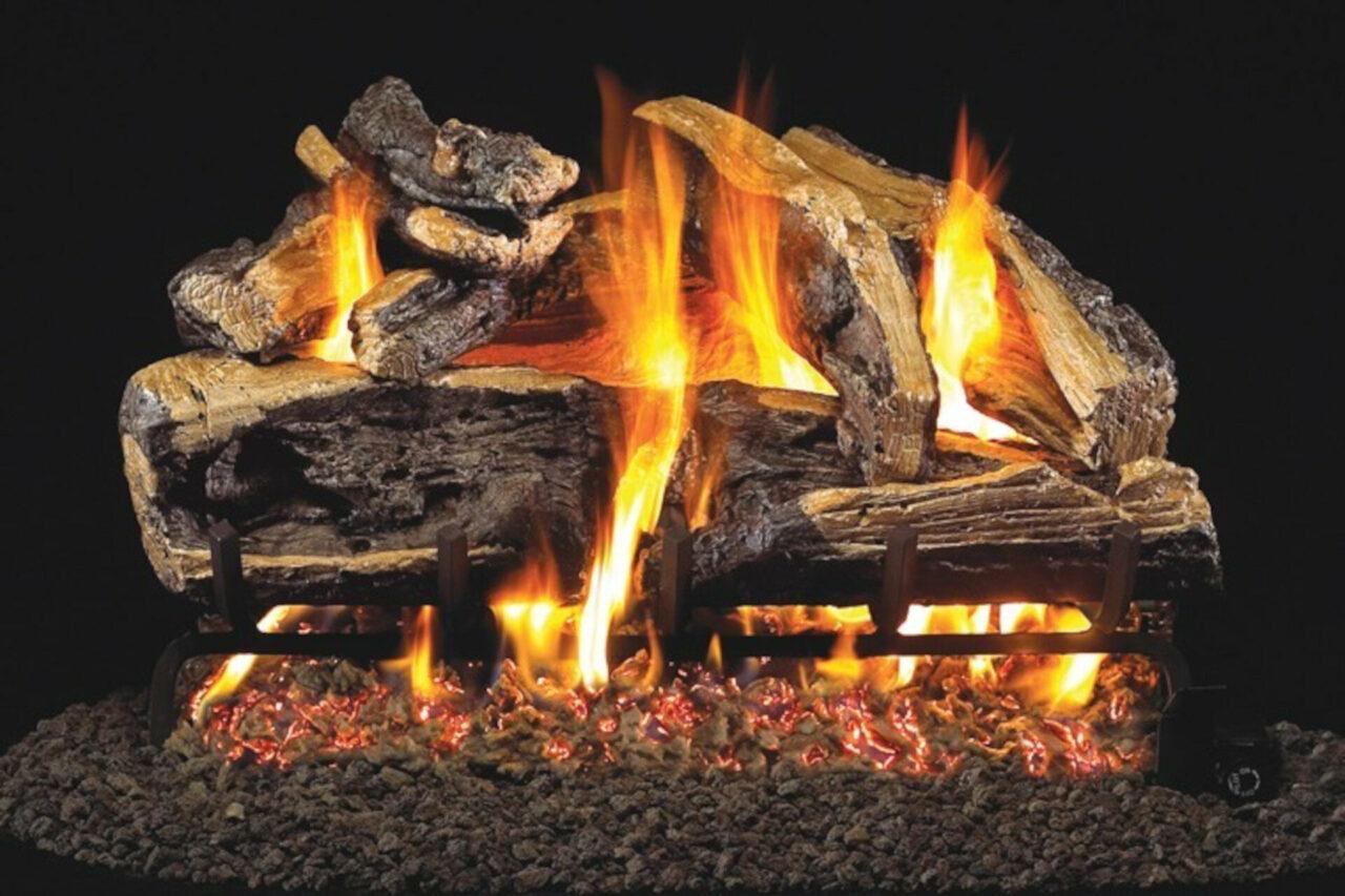 Charred Rugged SPlit OAk - Real Fyre Vented Gas Log Set