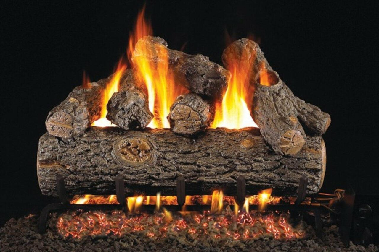Golden Oak Designer Plus - Real Fyre Vented Gas Log Set