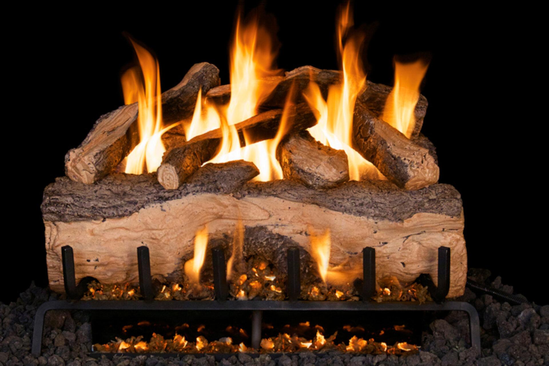 Mountain Crest Split Oak - Real Fyre Vented Gas Log Set